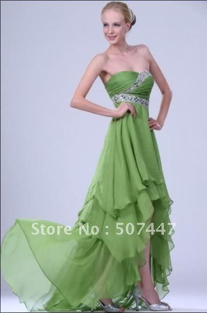 New Green Chiffon Wedding/Bridesmaids/Party Dress/Gown