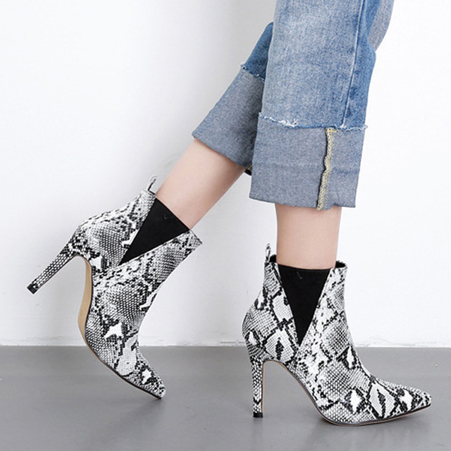 b1502677401 Boussac Sexy Snakeskin High Heel Women Boots Pointed Toe Ankle Boots For  Women Slip on Winter Women Boots Shoes SWE0325
