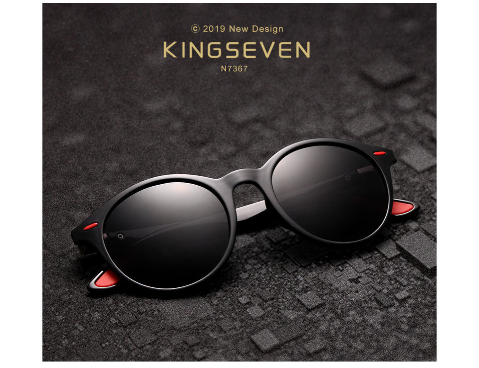 KINGSEVEN DESIGN Men's Glasses Round Polarized Sunglasses for Men and Women TR90 Vintage Unisex Goggles Oculos De Sol