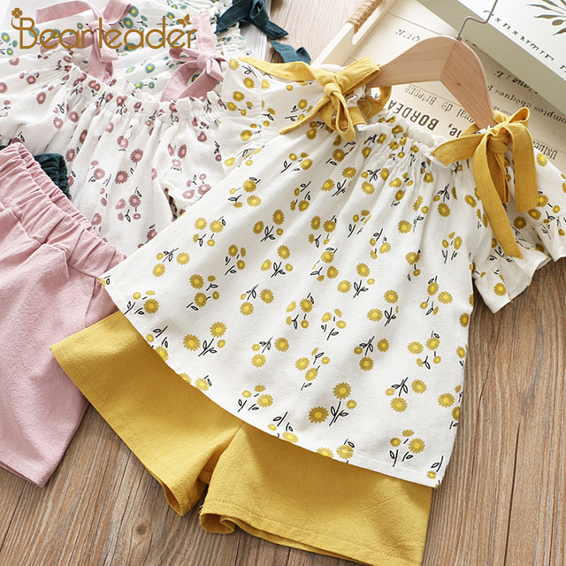 Bear Leader Girls Clothing Sets 2019 Brand Girls Clothes Striped T-shirt+Short Pants Floral Pattern Skirt 2Pcs Children Clothing