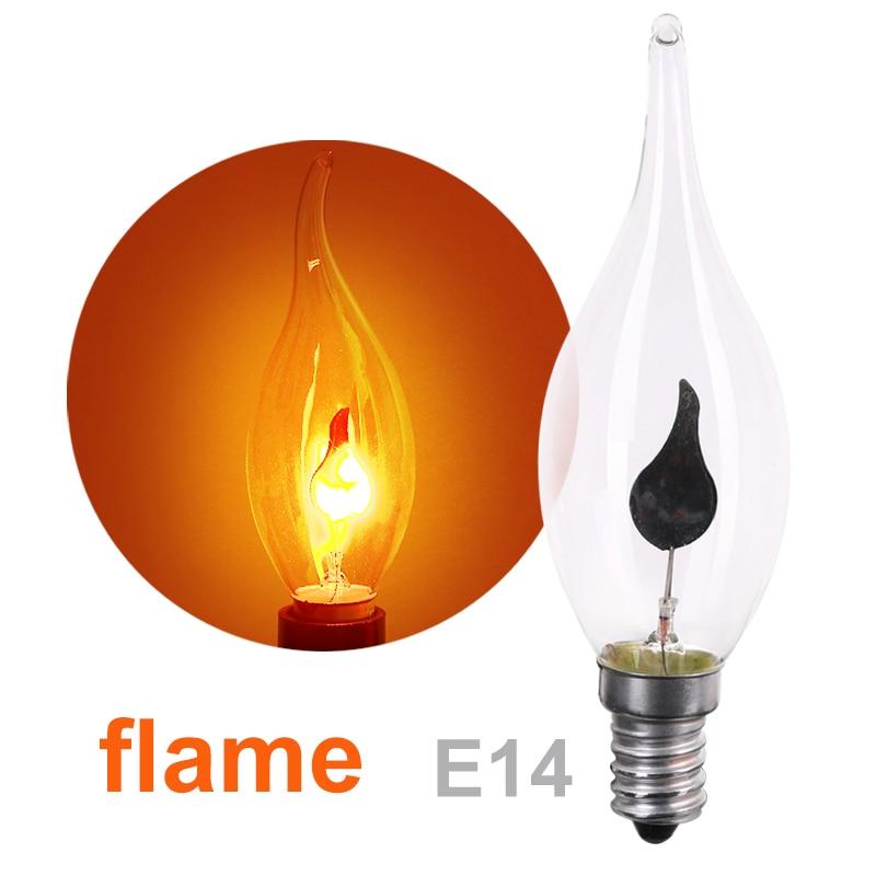 10 pieces E14 3W Edison Light Bulb Lamp LED Energy Saving Light Bulbs Vintage Fire Flame Candle Tail Chandelier Decor 220V
