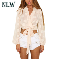 NLW Sexy Deep V Lace Up Bow Polka Dot Boho Blouse Long Sleeve Crop Tops Autumn