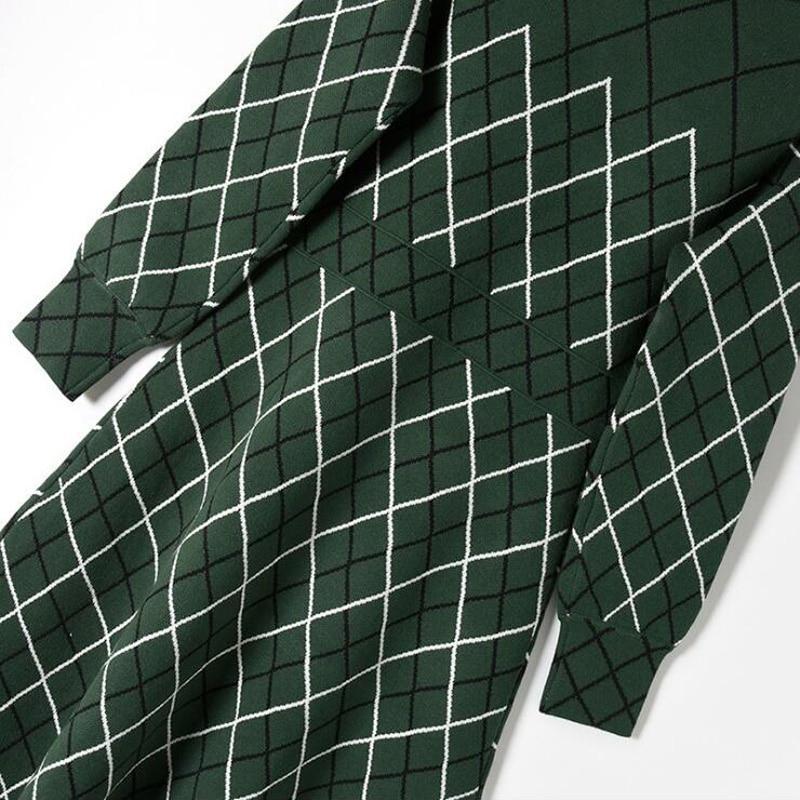 Nuovo Collo Donne Maglia Fiocco Elegante Moda Primavera Verde Arrivo line Dress Plaid Om260 Dalle 2018 Sottile Vestiti Bianco A Lunga Al Manica RqwxXv