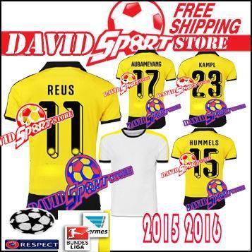 0709931d3 Dortmund 2015 2016 Soccer Jersey BVB Camisa Borussia Dortmund 15 16 White  yellow shirts Trikot Football REUS HUMMELS MKHITARYAN