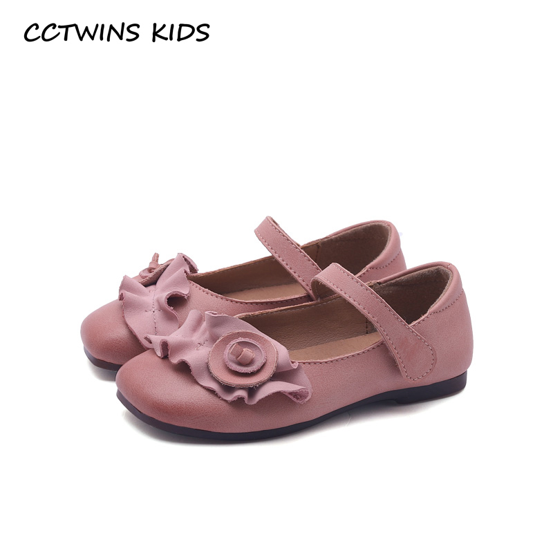 CCTWINS KIDS 2018 New Spring Baby Girl Flower Mary Jane Kid Genuine Leather Princess Flat Children Fashion Party Brand Pink Shoe wendywu new kids leather shoes baby girls fashion dress mary jane for children pu leahter court shoe kid brand dance heel shoe