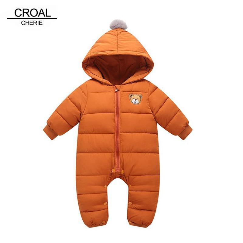 все цены на CROAL CHERIE Winter Jumpsuit Baby Newborn Snowsuit Snow Wear Coats Boy Girl Warm Romper Warm Cotton Girl clothes 66-90 онлайн