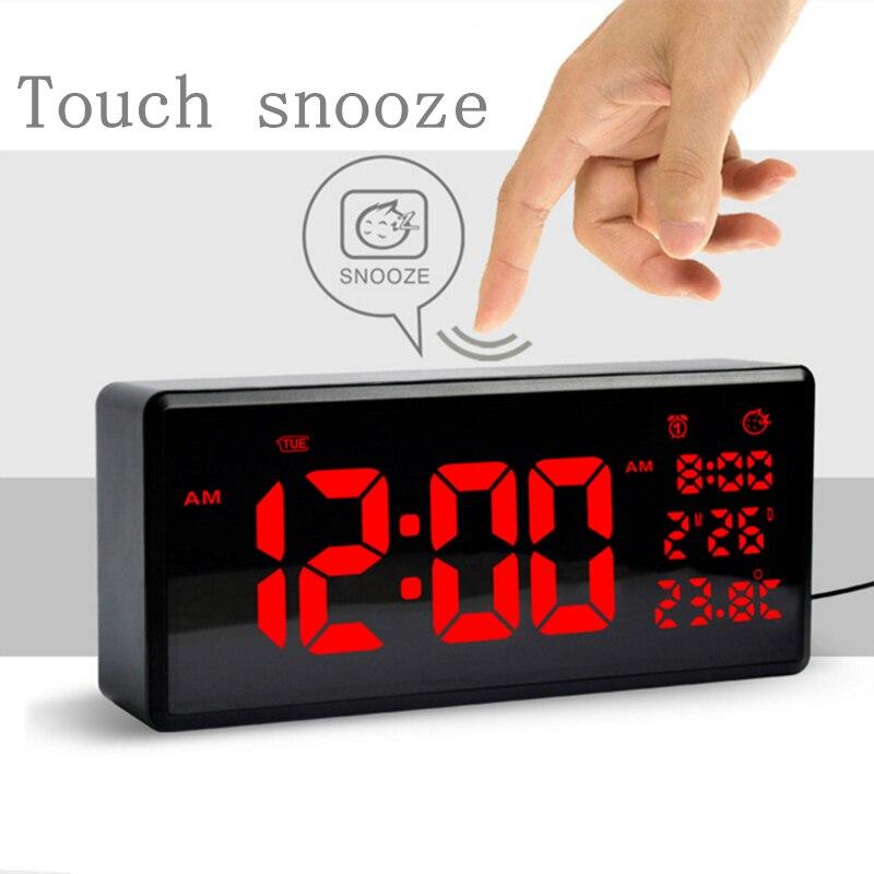 Tactile snooze réveil Électronique CONDUIT horloge 12/24 heures horloge HD écran grand figure affichage de l'heure moderne LED numérique alarme mur horloge