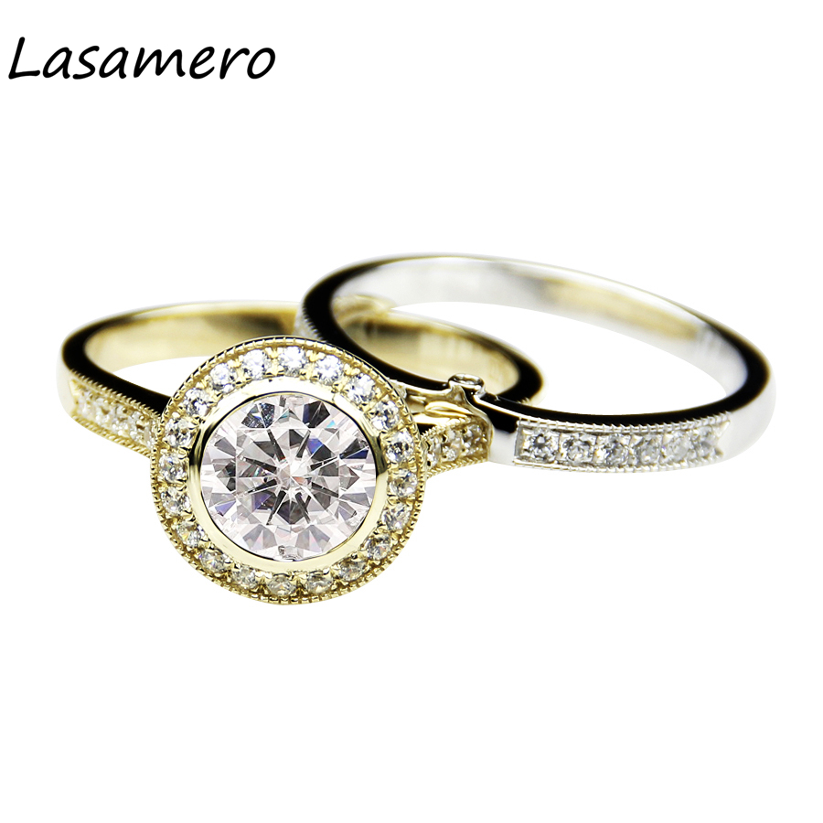 LASAMERO 8MM Round Cut Simulated Diamond 925 Sterling Silver Bridal Sets Halo Accents Engagement Wedding Ring
