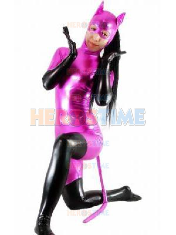 Shiny Metallic Fuchsia & Black Catwoman Zentai Halloween Cosplay Costume