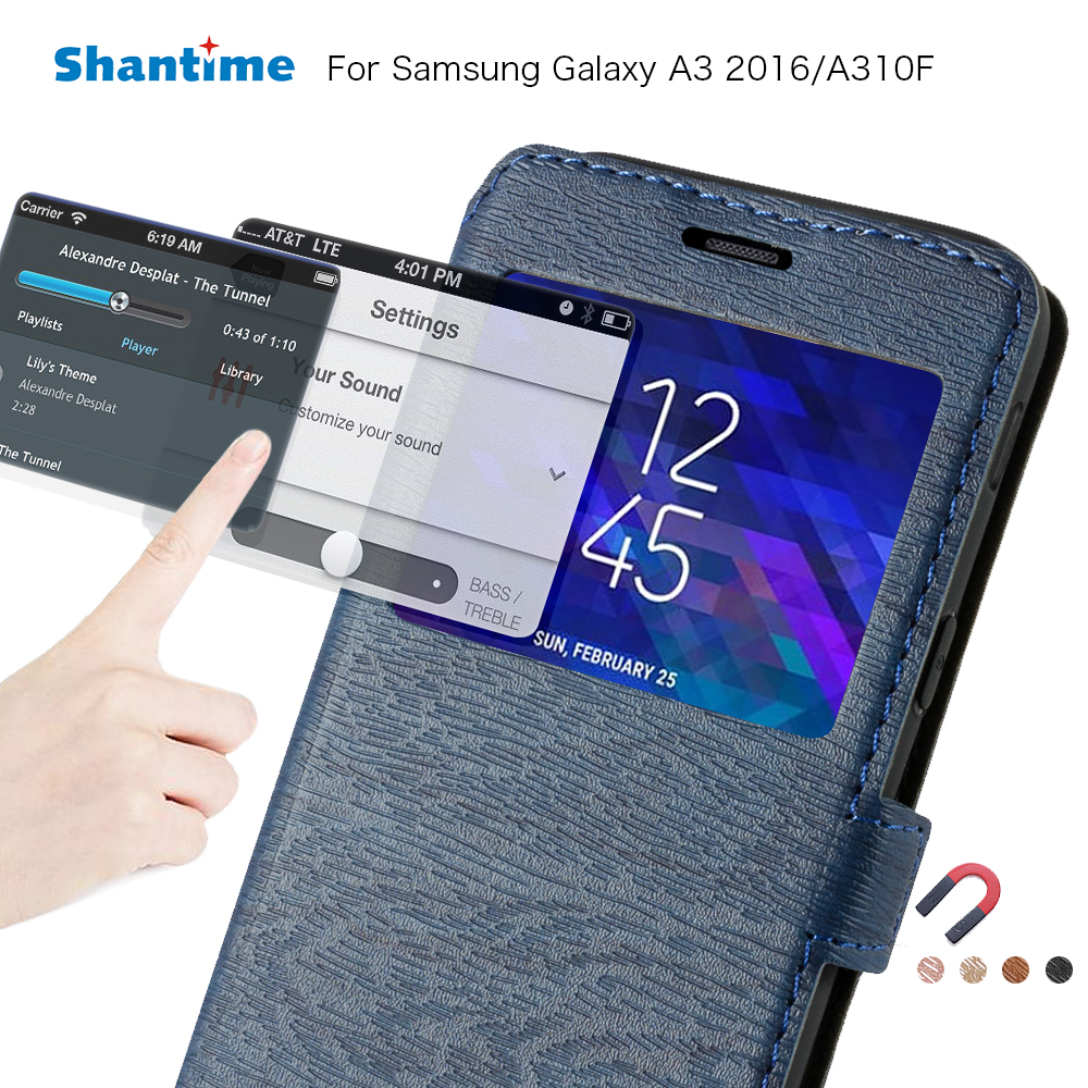 new arrivals f3cf9 4204a Pu Leather Case For Samsung Galaxy A3 2016 Flip Case For Samsung Galaxy A5  2017 View Window Book Case Soft Silicone Back Cover