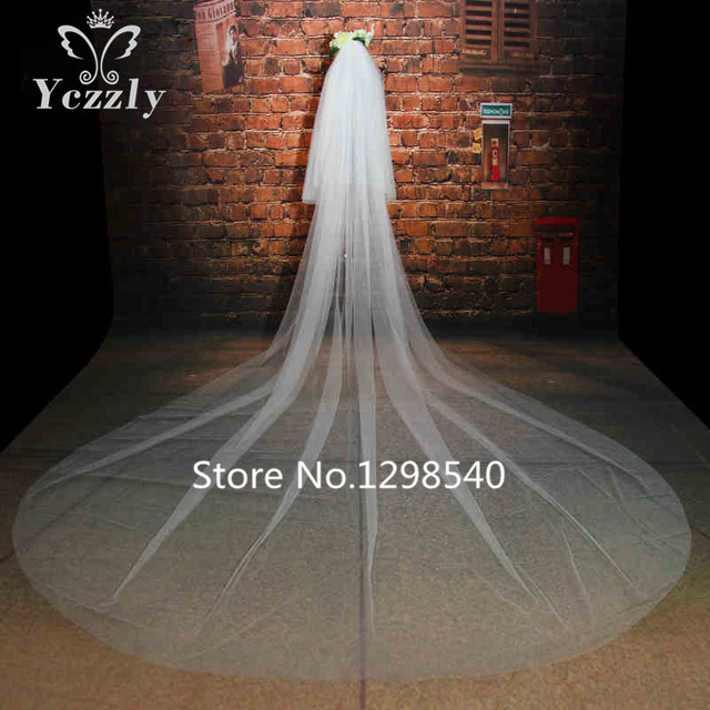 Simple Cheap Soft Tulle Long Cathedral Wedding Veils With Comb Two Layers 3M White/Iovry Bridal Veil Velos De Novia Largos WB59