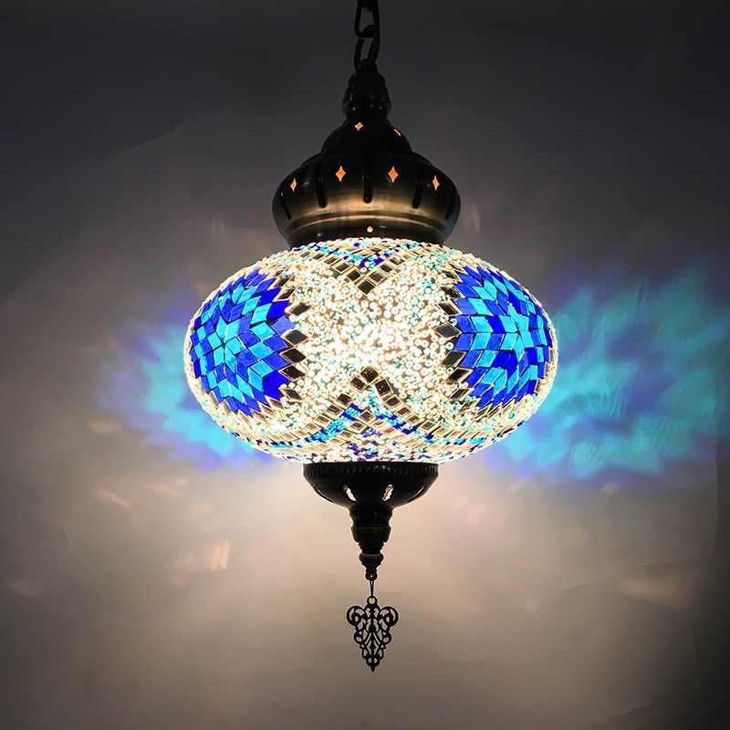 Марокканский турецкий стиль ретро винтажный подвесной светильник E27 основание Украшение в средиземноморском стиле мозаика подвесной светильник