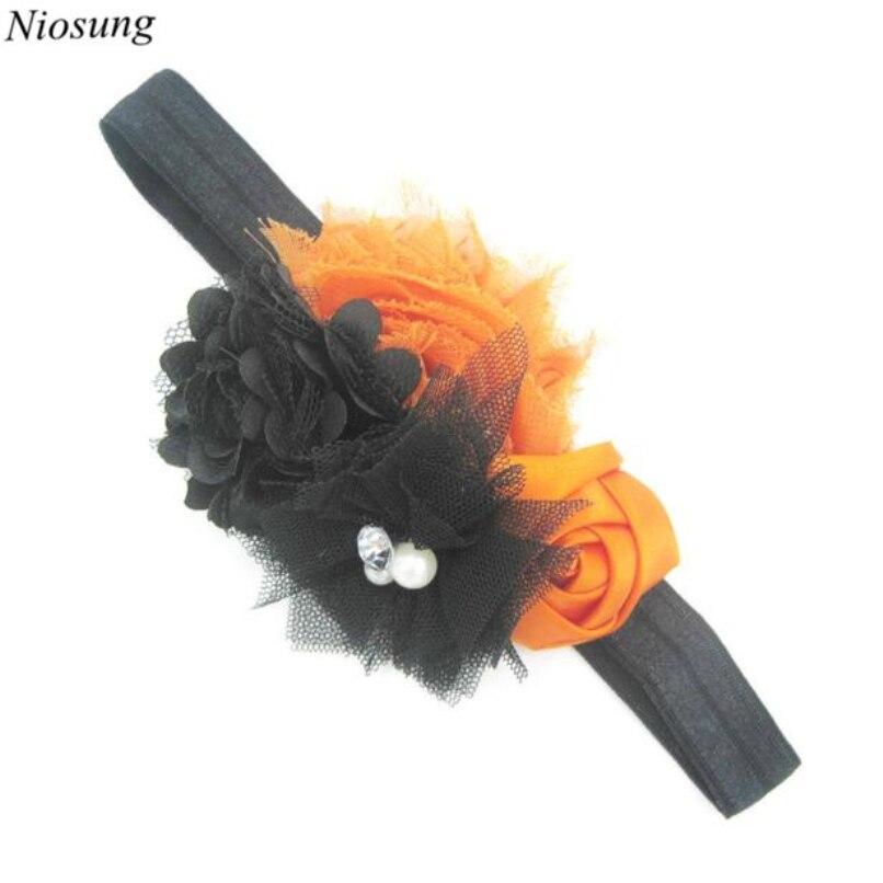 Niosung Baby Girl Newborn Toddler Halloween Flower Elastic Headband Photography Headband Elastic funny hair accessories