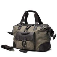 KUNDUI High Quality Men's Bags Solid Zipper Men Retro Canvas PU Splice Travel Duffle Bags Bolsa Large Capacity Luggage Tote