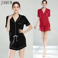 Contrast Piping Pocket Front Pajama Set Zwart Korte Mouwen Revers Top Met Elastische Taille Shorts Womens Tweedelige Sets