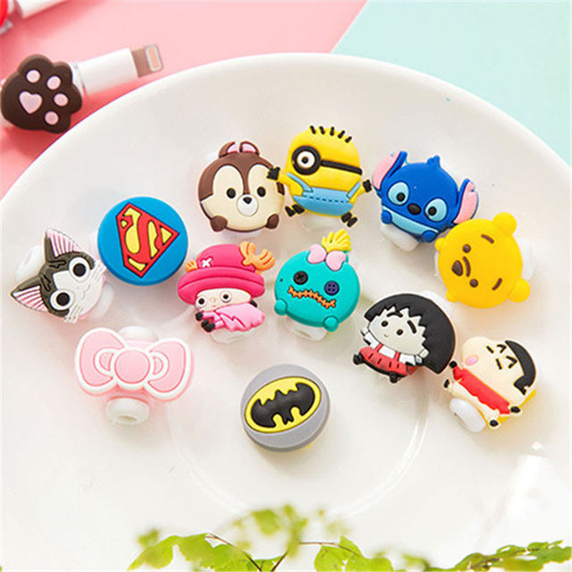 2-Piece Cartoon USB Data Charger Cable Protector