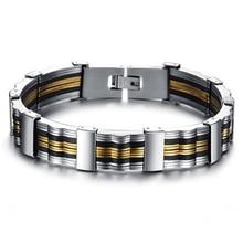 Korean Edition Jewelry Fashion Gift Men's Silica Titanium Steel Bracelet Gs814 silica gel fret titanium steel bracelet