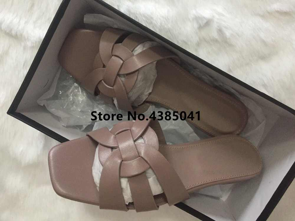 ae6fd5adfa2 ... 100% Real photos Tribute Patent Leather Black Pink Lady Sandals Shoes  Woman Cozy Slides Open