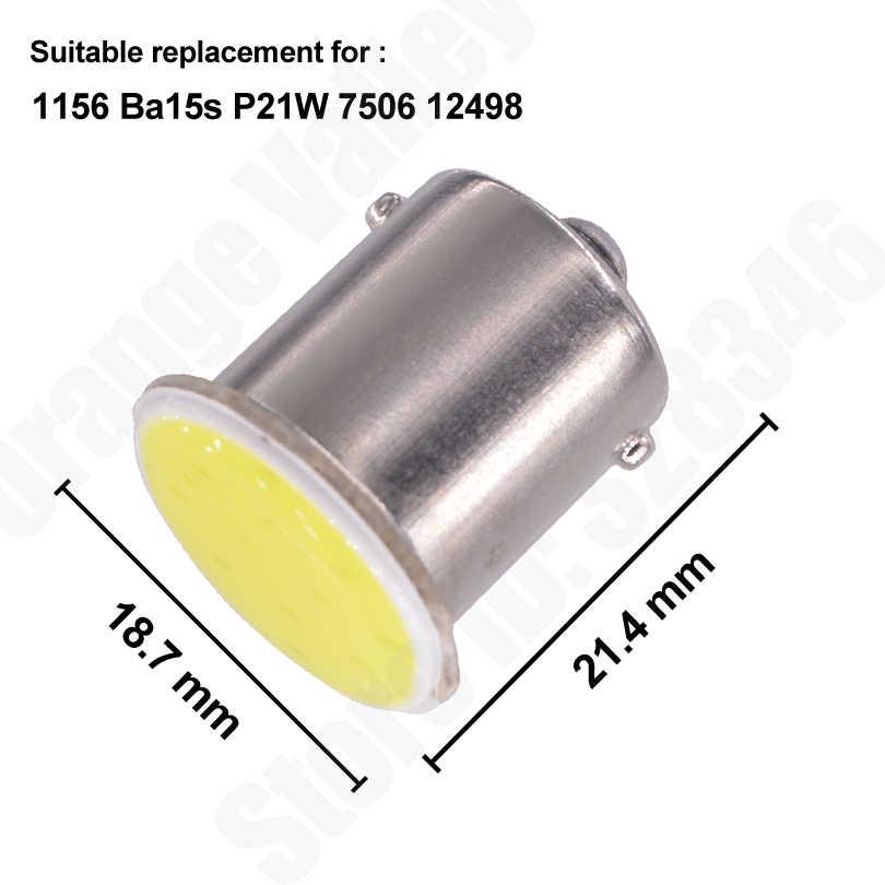 1 pçs 1156 luzes led cob 12 chips ba15s p21w carro auto turn signal luz reversa lâmpadas lâmpada de cauda branco âmbar vermelho