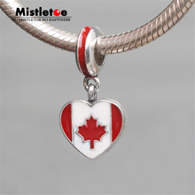Authentic 925 Sterling Silver Canada Flag Heart Red & White Enamel Dangle Charm Bead Fit European Bracelets Jewelry(China)