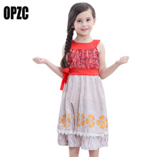 2017 Girls Moana Cosplay Costume Kids Cotton Print Christmas Princes Clothing for Children Princess Girls Gift