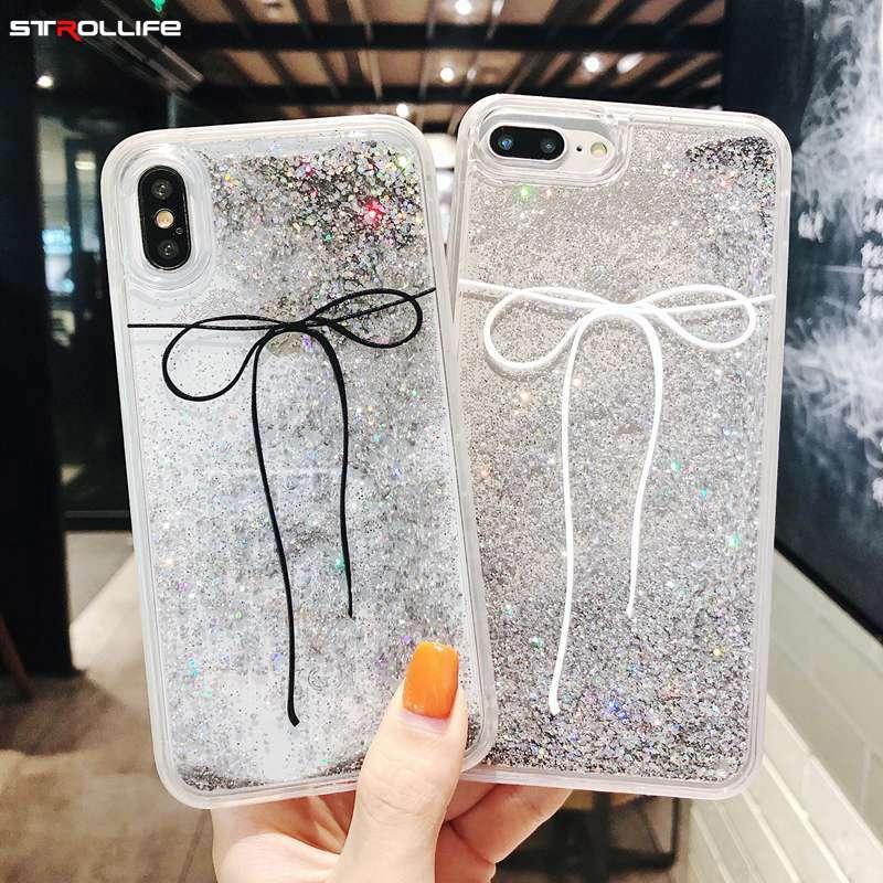 0a421f193b7 STROLLIFE moda Bowknot funda para teléfono para iPhone XS Max XR el brillo  líquido de Glitter