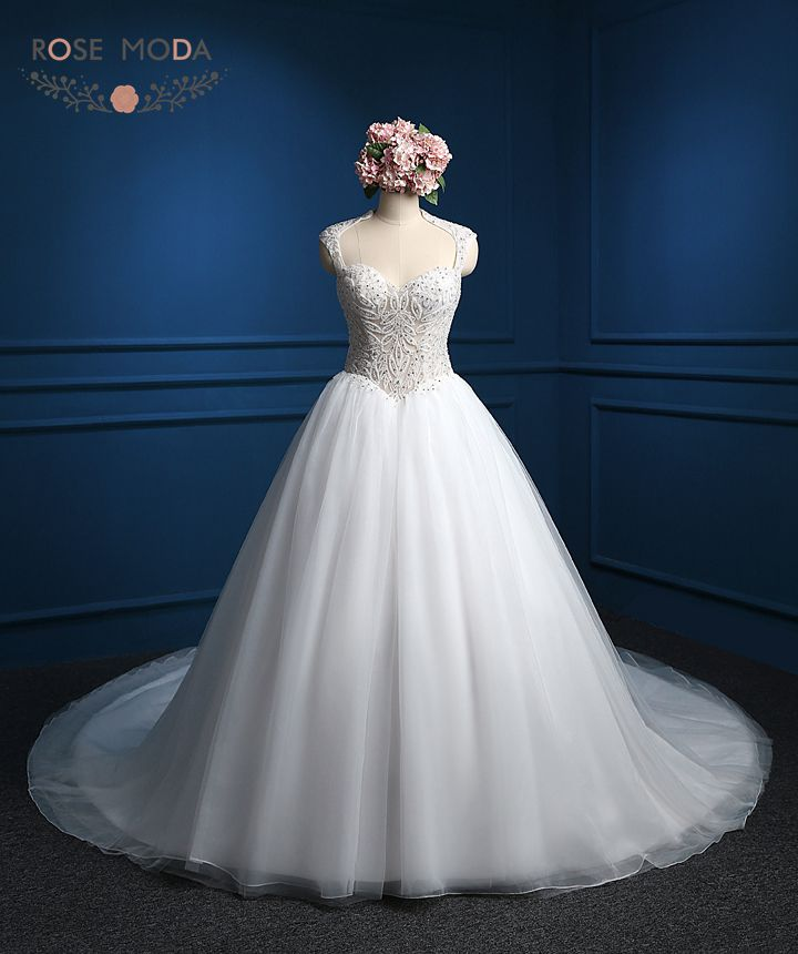 Luxury Heavily Pearl Beaded Corset Arabic Ball Gown See Through Top High Collar Wedding Dress with Royal Train Real Photos