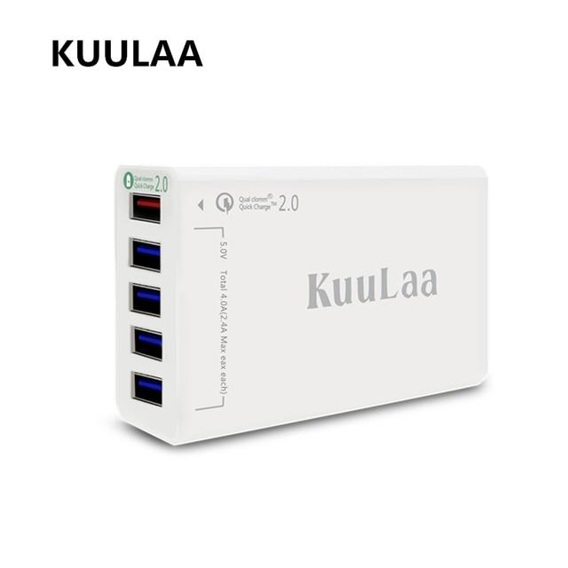 Kuulaa 5 Порты и разъёмы QC2.0 Quick Charge 2,0 5V2. 4A/9V2A/12V1. 5A настольный USB Зарядное устройство Совместим практически для смартфонов Белый для Xiaomi