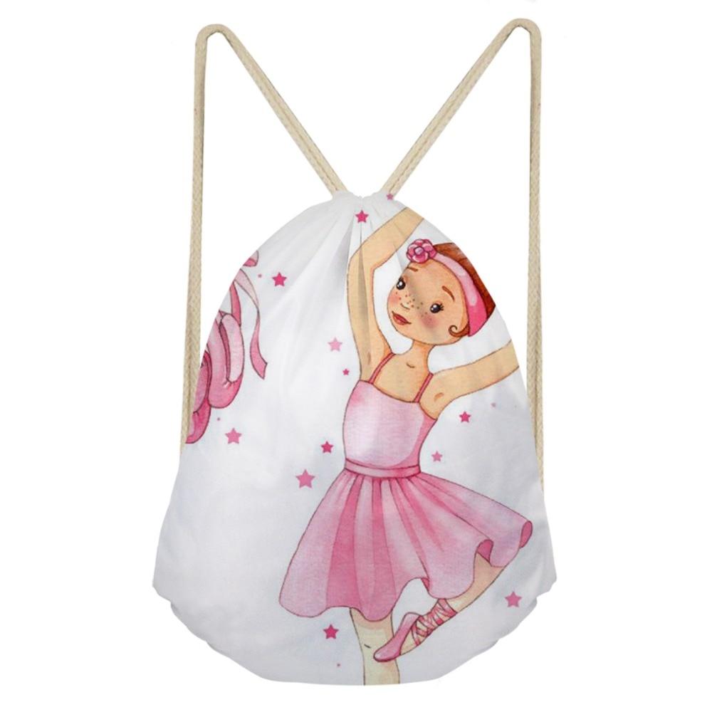 ThiKin 3D Ballet Printed Drawstring Bag Portable String Backpack For Women Girls Fashion Traveling Daypack Backbags
