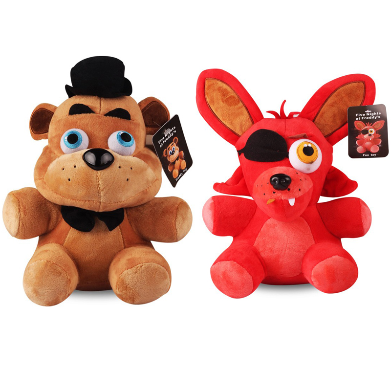 2pcs/lot Freddy Bear & Foxy Plush Five Nights At Freddy's 4 FNAF Freddy Fazbear Bear & Fox Foxy Plush Stuffed Toys Doll for Kids wholesale five nights at freddy s 4 fnaf freddy fazbear bear foxy plush toys doll kids birthday gift