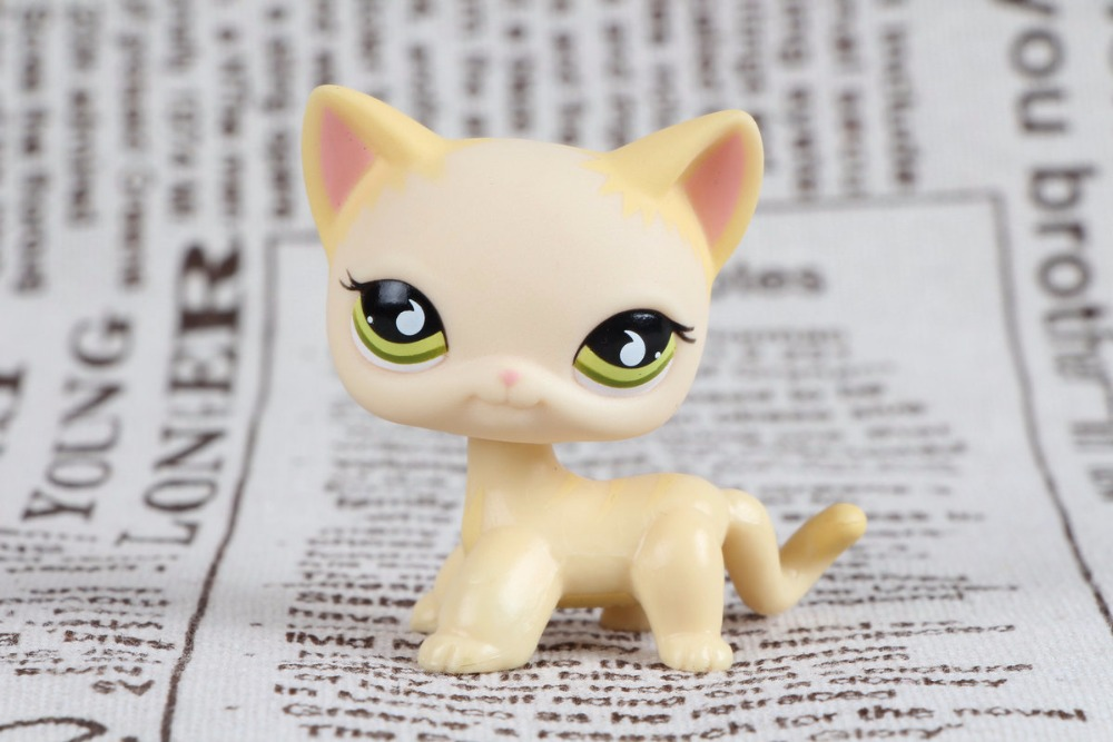 New pet Genuine Original LPS #733 Raindrop eyes cream yellow short hair cat kitty Collection figure Toys lps collections pet shop cat great dane 817 white dog star eyes rare old collections figure toys christmas gifts