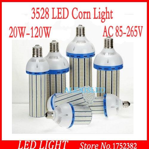 цена на Free Shipping Super Bright SMD3528 40W 60W 80W 100W 120W E40 LED Garden Lighting Warehouse Corn Bulb LED Street Light AC85-265V