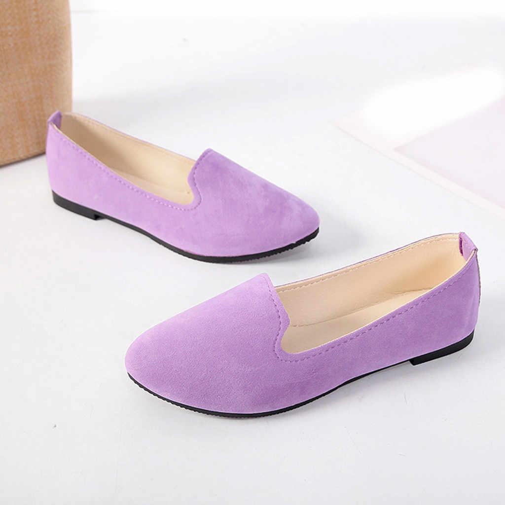 38 # Nữ Đế Giày Dễ Thương Kẹo Màu Giày Lười Nữ Thoải Mái Slip On Mũi Tròn Ba Lê Nữ Flat zapatos De Mujer