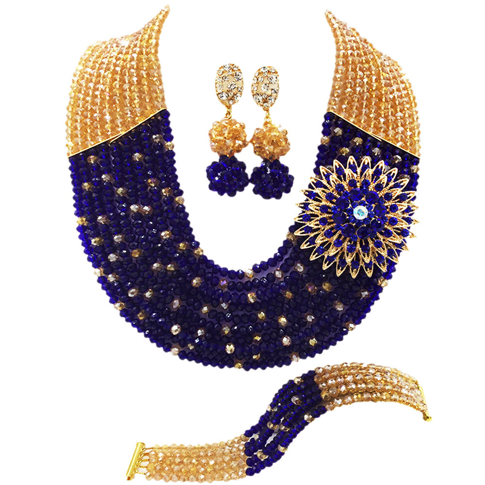bc05a85d07d99 US $33.99 |Fashion Royal Blue Yellow African Wedding Beads Jewelry Set  Nigerian Beads Crystal Necklaces Bracelet Earrings CPS 2042-in Bridal  Jewelry ...