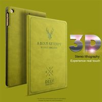 UTOPER For IPad 2 Case Sleep Retro Deer Pattern Case Wake Up Flip 3D Embossing Leather