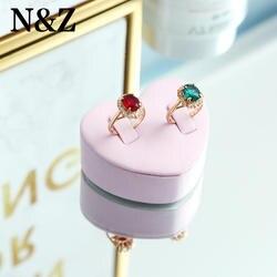 N & Z новый белый кожаный сердце Форма кольца ювелирные изделия Дисплей для ювелирных магазинов коробки для ювелирных изделий Организатор