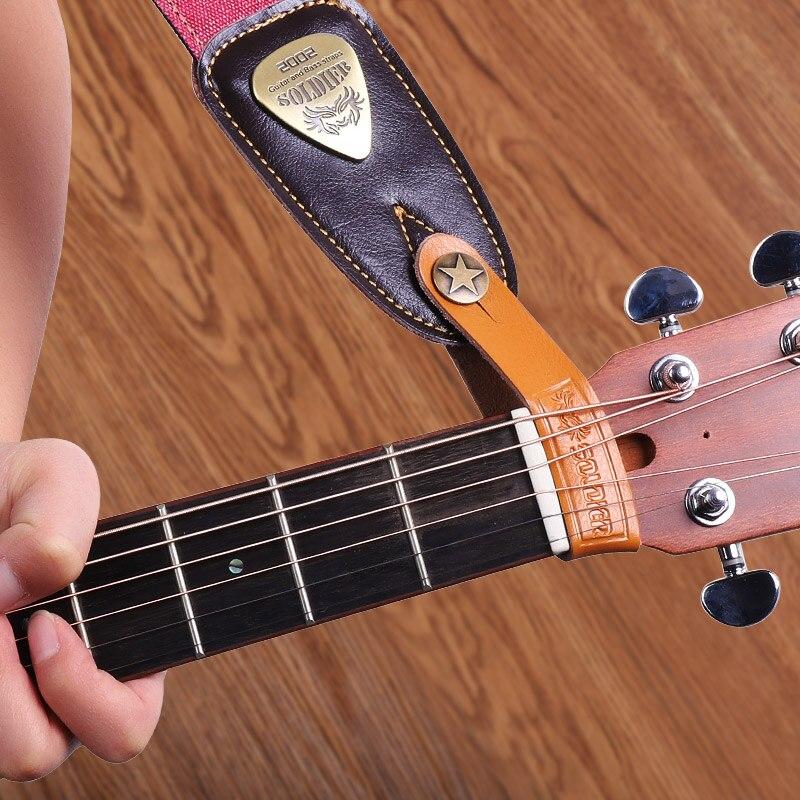Gitarrengurt Gürtel Akustische E-Gitarre mit 3 Plektren Plektrum Verstellbarer