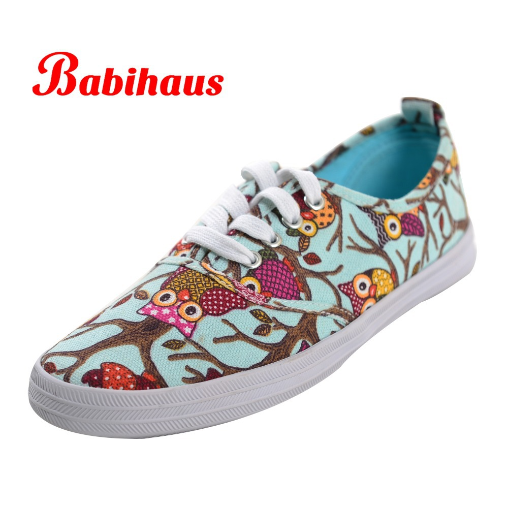 53afbb92ab7 US $35.66 |Free Shipping Babihaus Women Cute Graffiti Canvas Shoes Ladies  Stylish Fashion Sneakers Girl Low Top Casual Flat Shoes 11 Colors-in  Fitness ...