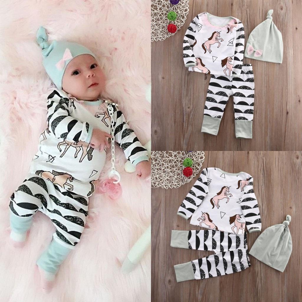 Cute Newborn Baby Boy Girl Clothes Horse Tops +Long Pants Hat Cap Cotton Horse Outfits 3PCS Set Boys Girls Clothes