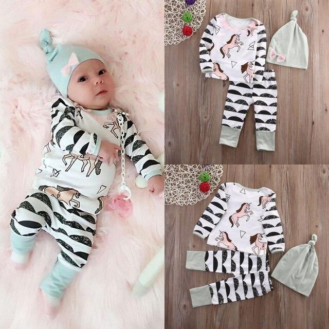 Leuke Meisjes Babykleding.Leuke Jongen Pasgeboren Baby Meisje Kleding Paard Tops Lange Broek