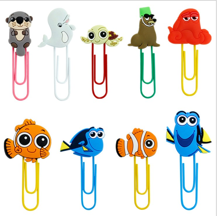 1pcs Cartoon PVC Finding Nemo Shark Bookmark Paper Clips Student Stationery Memo Clip Kids Toy Gift
