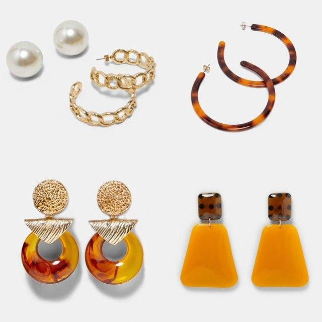 Best lady Fashion ZA Resin Drop Earring For Women Wedding Jewelry Boho Elegant Shiny Dangle Statement