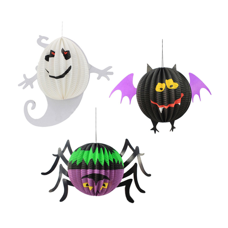 halloween decoration hanging spider bat ghost lanterns halloween party scene layout cosplay decorations party supplies - Halloween Hanging Decorations