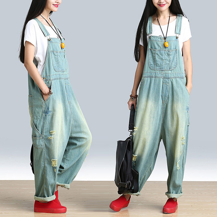 Plus Size Casual Rompers for Women Girls Denim Overalls Pants 2018 New Elegant Jumpsuit Long Loose Suspenders Summer Autumn стоимость