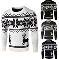 2015 New Christmas Snow Reindeer Men Sweaters Slim fit Fashion Long sleeve O-neck Knitted Casual Pullover Mens
