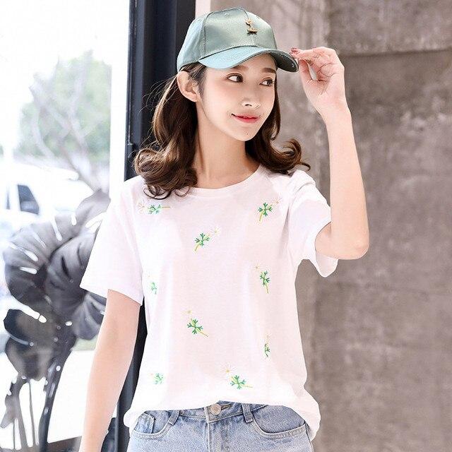 31127da29c98 Miyahouse Fresh Design Floral Embroidery Simple Style Tees Teenage Girls  Fashion Korean Short Sleeve T-shirt Female Casual Tops