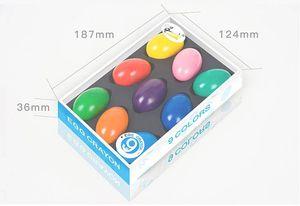 Image 5 - 9 Kleuren/Set Veiligheid Niet Giftig Wax Creatieve Kinderen Kwast Kleurpotloden Effen Eivorm Geschenken Baby Speelgoed tekening Pigment Art Sup