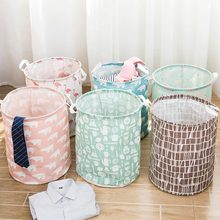 цены Folding Basket Stand Laundry Basket Toy Storage Box Super Large Bag Cotton Washing Dirty Clothes Big Basket Organizer Bin Handle