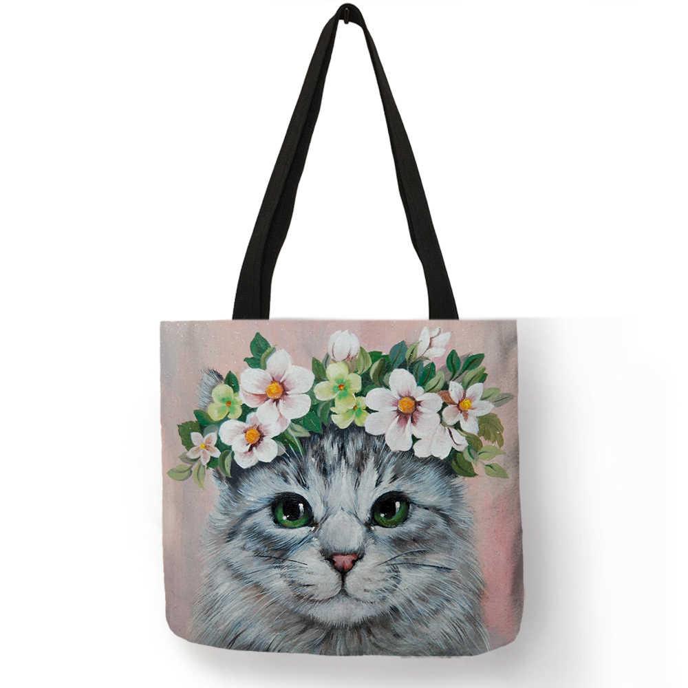 Новое поступление, женские модные сумки, сумка с цветочным принтом и котом, повседневные школьные сумки на плечо, многоразовая сумка для покупок с короткими ручками, сумка B01079