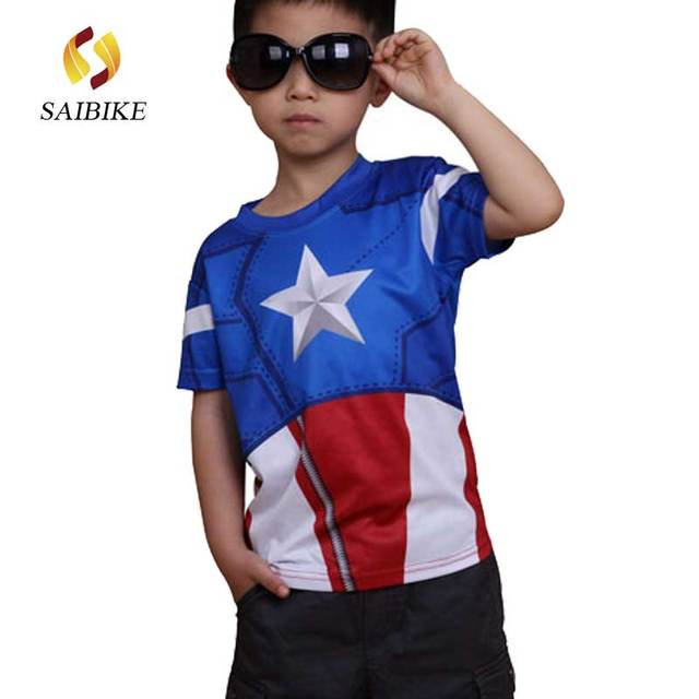 Marvel America Super Hero cycling jersey captain America kids children s  cycling short T-shirt breathable quick 9bd355237